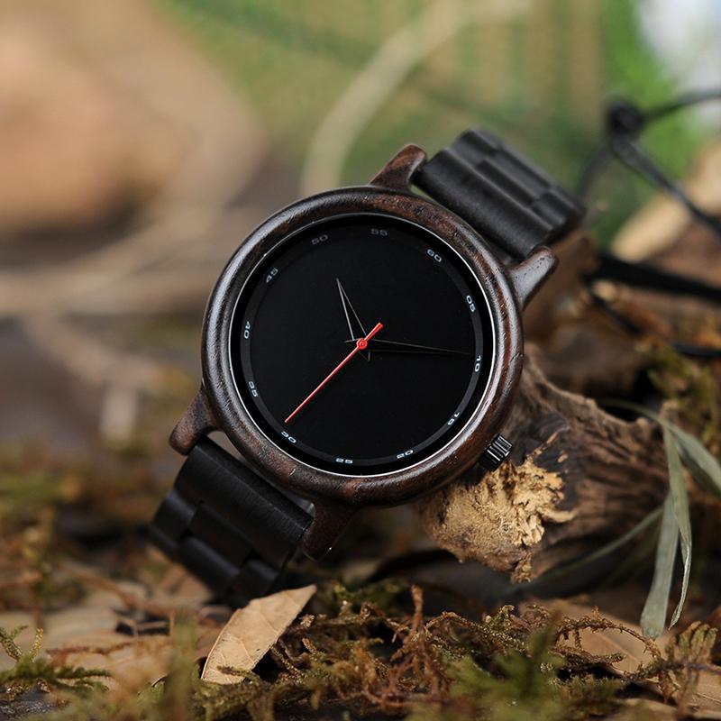 Ceas din lemn de abanos Bobo Bird cu curea din lemn de abanos