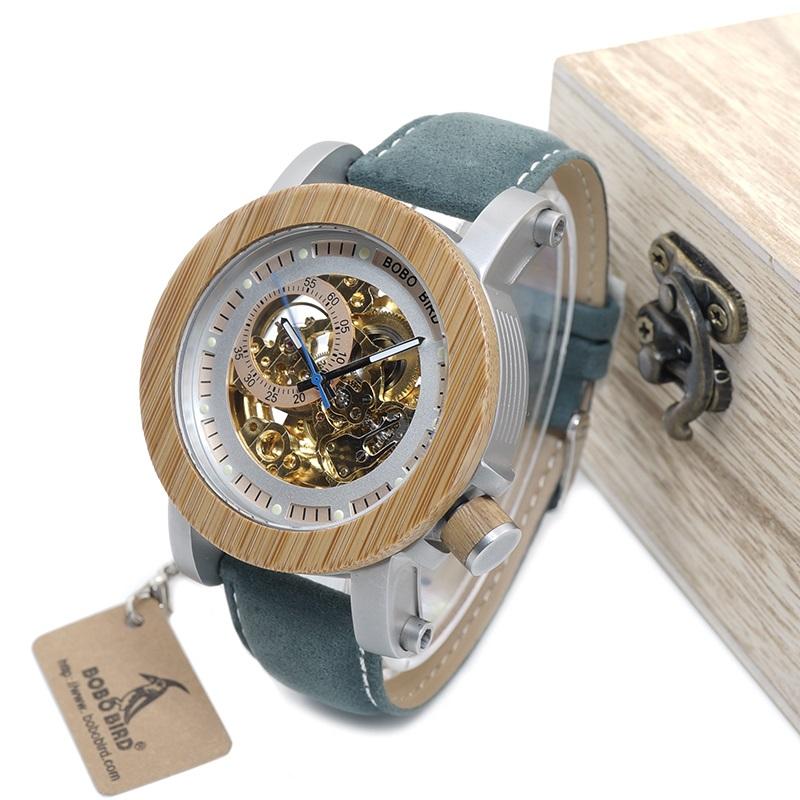 Ceas din lemn Bobo Bird albastru-verde