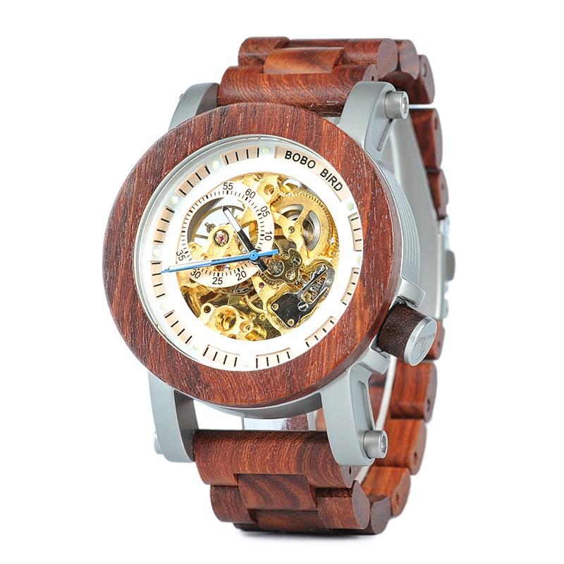 Ceas din lemn Bobo Bird mecanic cu curea din lemn