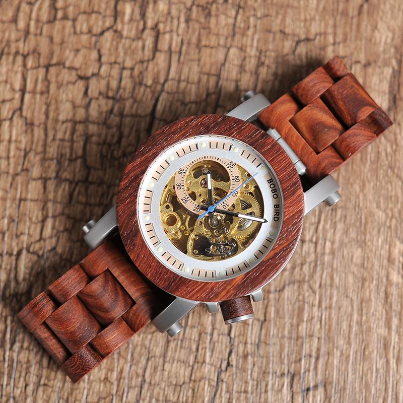 Ceas din lemn Bobo Bird mecanic curea din lemn