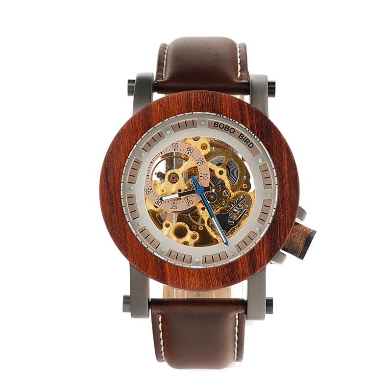 Ceas din lemn Bobo Bird mecanic, maro