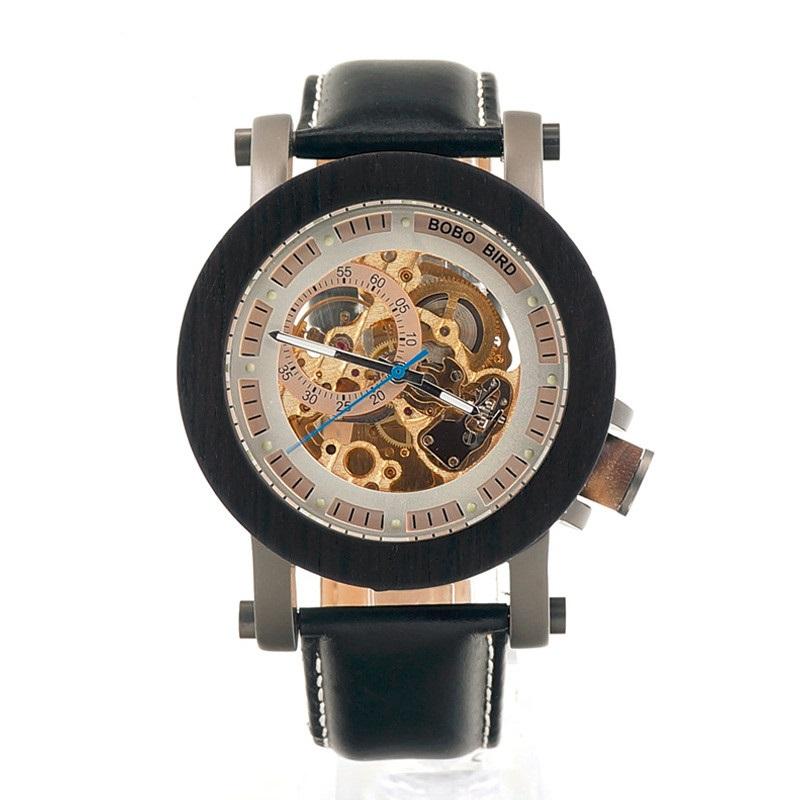 Ceas din lemn Bobo Bird mecanic, negru