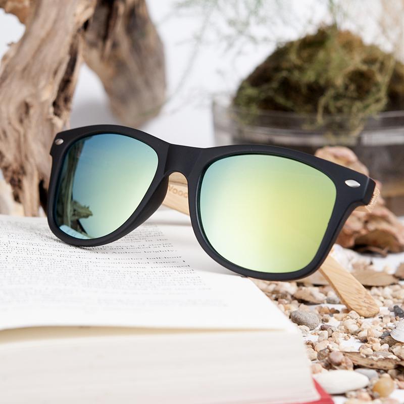 Ochelari de soare din lemn Bobo Bird, lentila verde