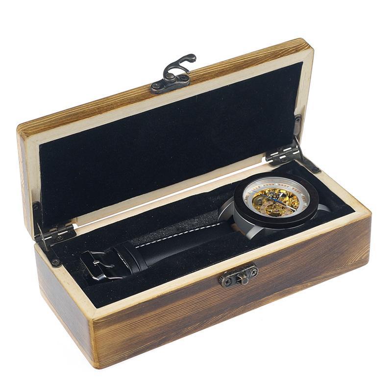 cutie Ceas din lemn Bobo Bird mecanic, negru