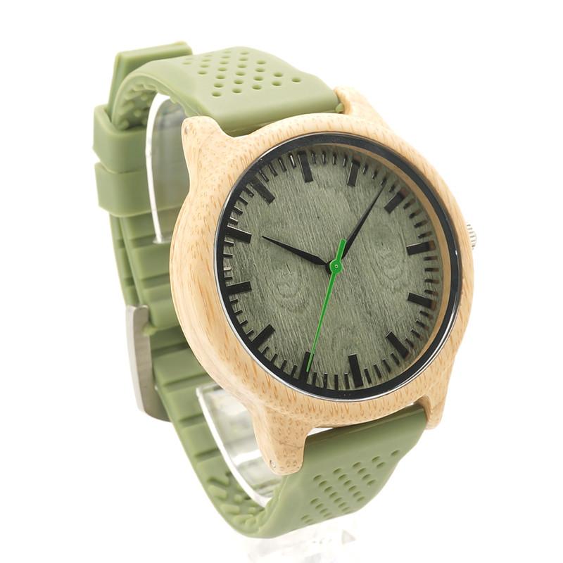Ceas din bambus Bobo Bird cu curea din silicon verde