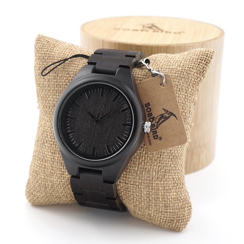 Ceas din abanos Bobo Bird cu curea lemn abanos