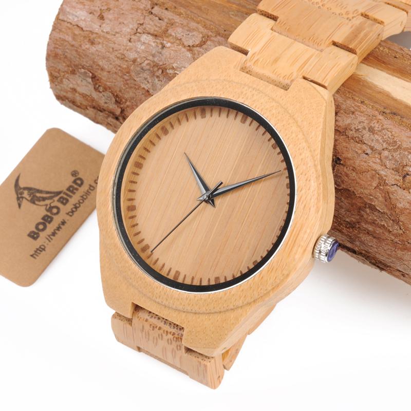 Ceas din bambus Bobo Bird cu curea din lemn, D19