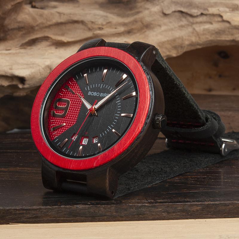 Ceas din lemn Bobo Bird rosu cu curea din piele
