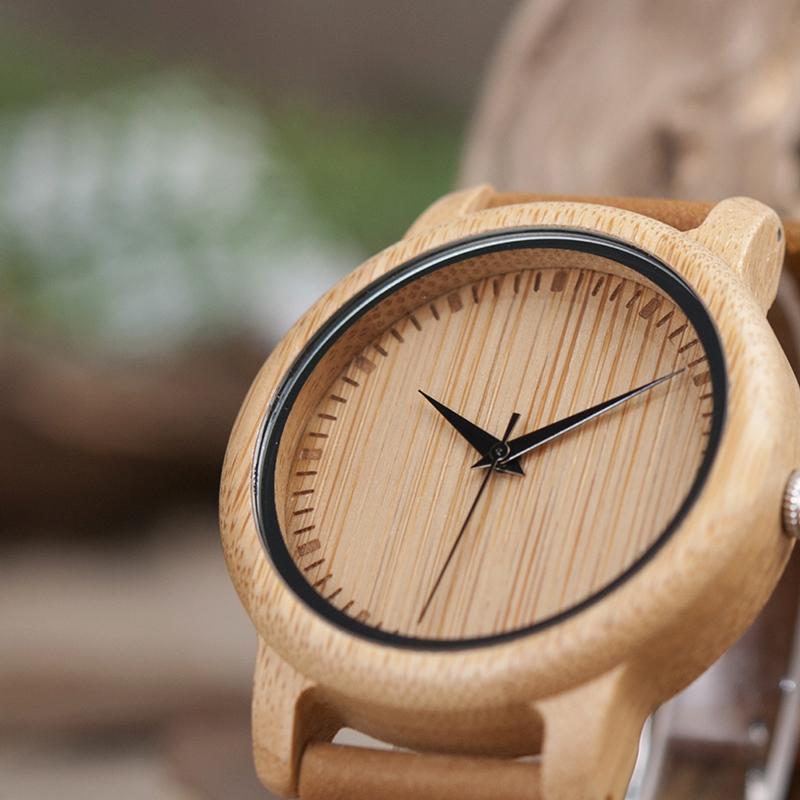Ceas din bambus Bobo Bird cu curea din piele