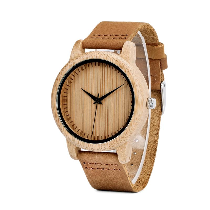 Ceas din bambus Bobo Bird cu curea din piele A09
