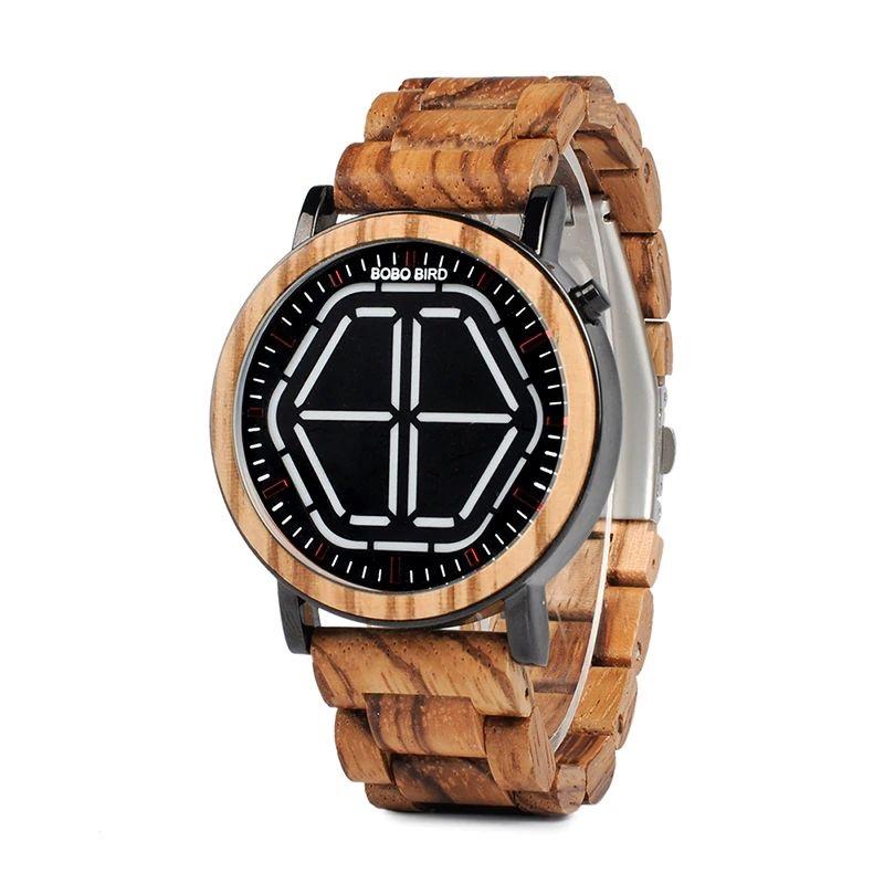 Ceas din lemn Bobo Bird led, P13
