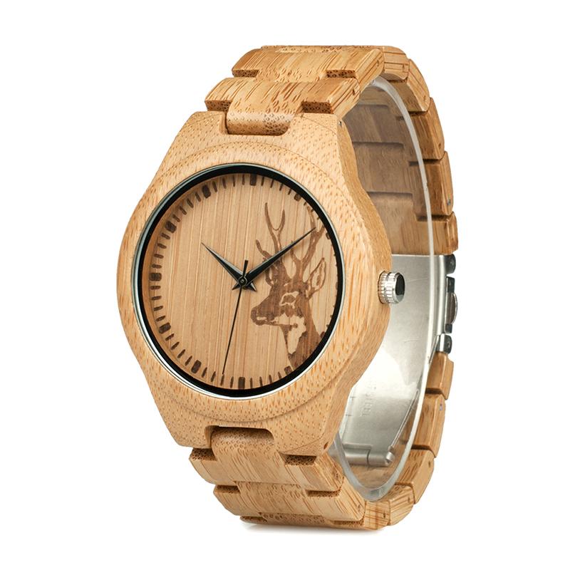 Ceas din lemn Bobo Bird cu curea din lemn, D28