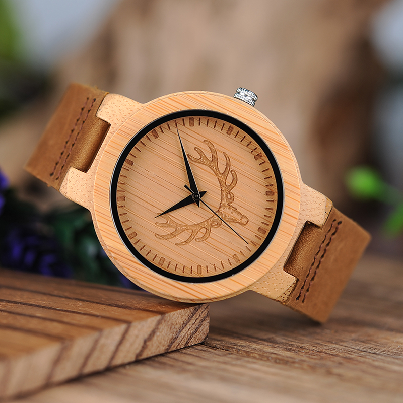 Ceas din lemn Bobo Bird cu curea din piele D19