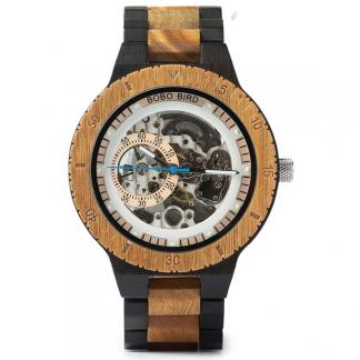 Ceas din lemn Bobo Bird mecanic, curea din lemn, R05