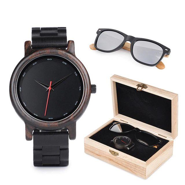 Set ceas din lemn Bobo Bird P10 si ochelari de soare din lemn