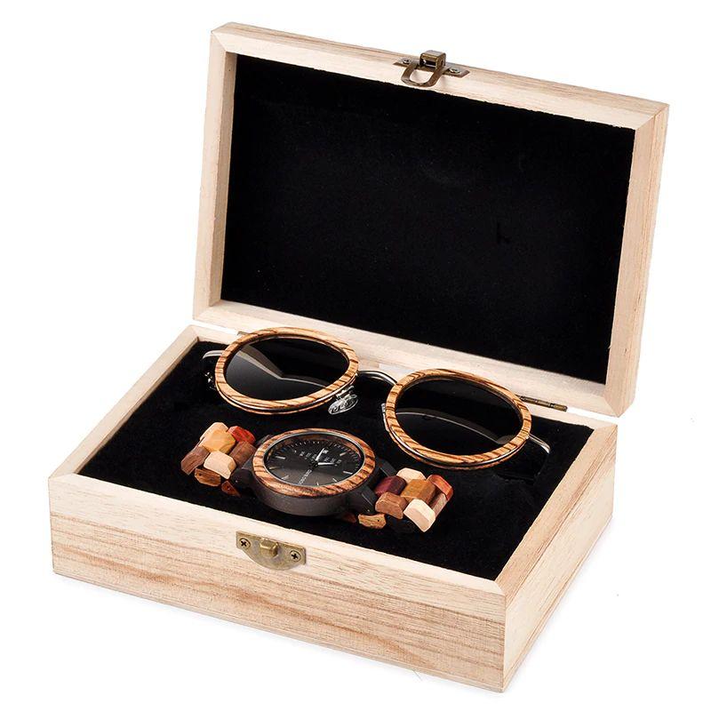 Set ceas din lemn Bobo Bird P14 si ochelari de soare din lemn