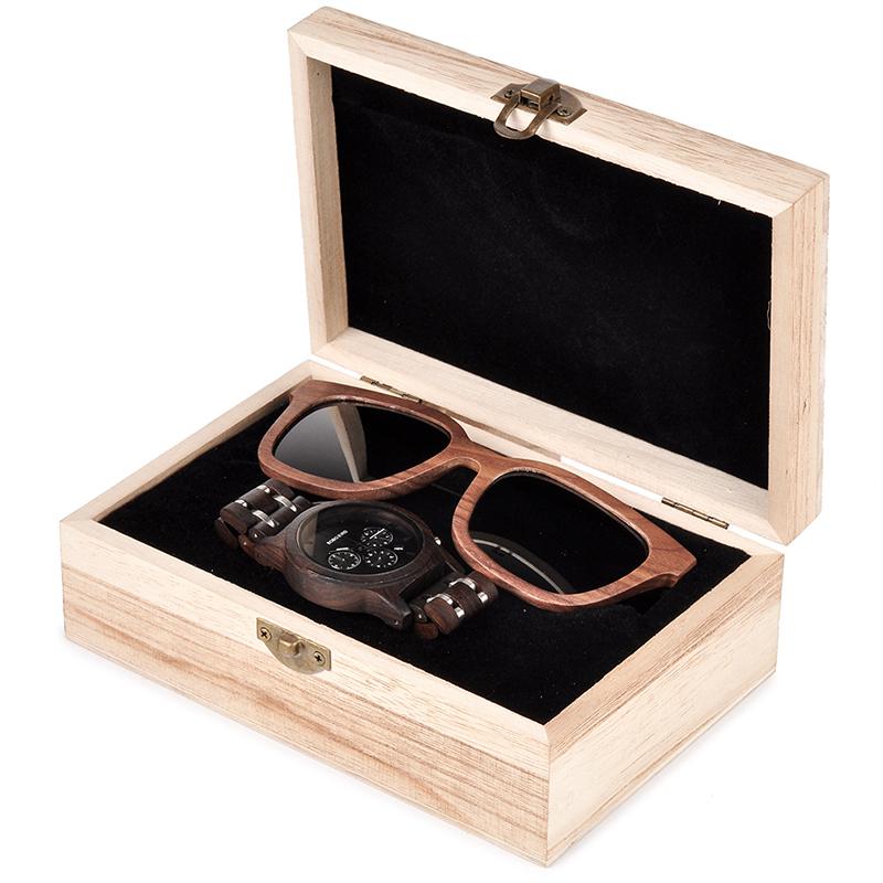 ceas din lemn Bobo Bird P19 si ochelari de soare din lemn