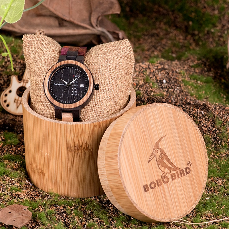 Ceas Bobo Bird cu curea din lemn, P14-4