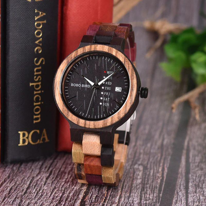 Ceas din lemn Bobo Bird cu curea din lemn, P14-4