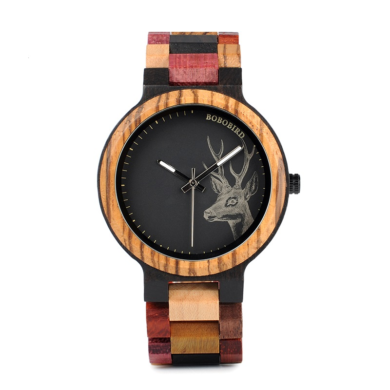 Ceas din lemn Bobo Bird cu curea din lemn, P14-2