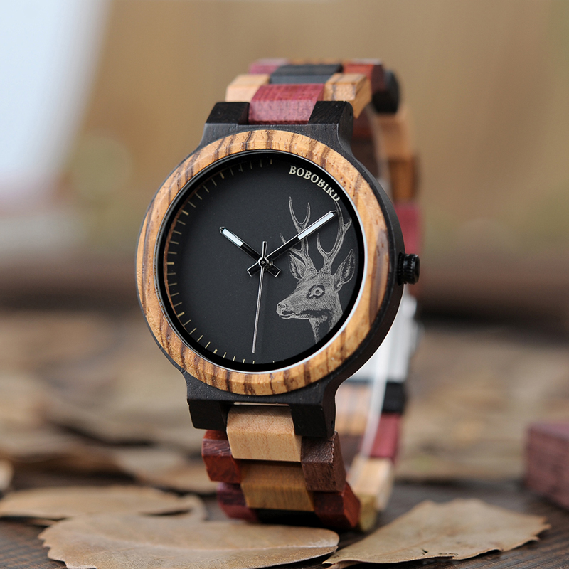Ceas din lemn Bobo Bird cu curea din lemn P14-2