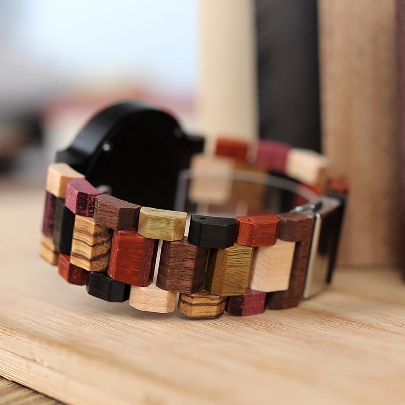 Ceas din lemn Bobo Bird cu curea din lemn multicolor, P14-2