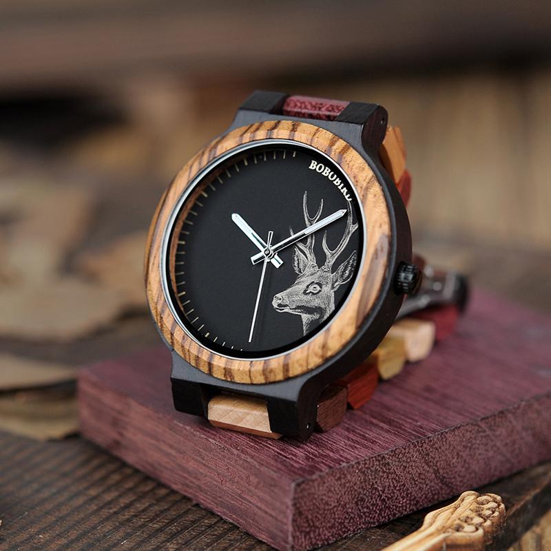 Ceas din lemn Bobo Bird cu curea din lemn multicolor P14-2
