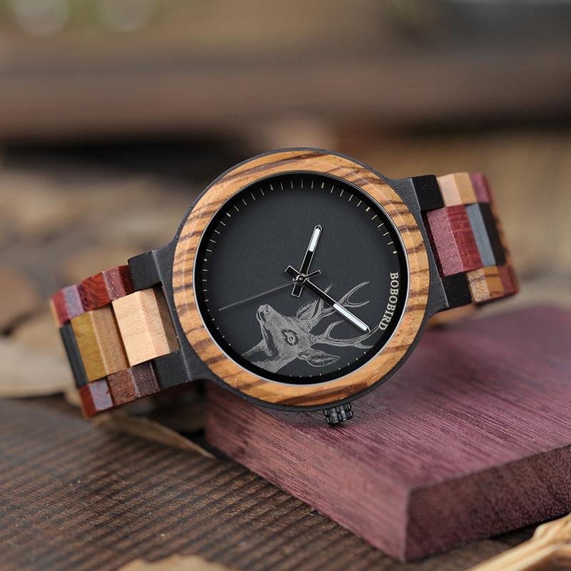Ceas din lemn Bobo Bird cu curea din lemn multicolor
