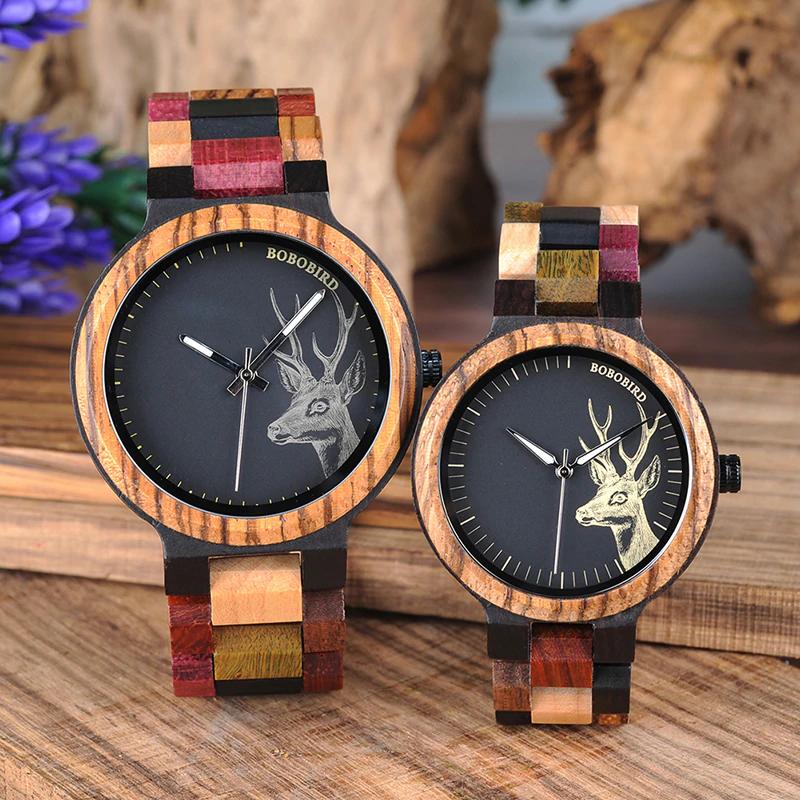 Set ceas din lemn multicolor Bobo Bird pentru cupluri