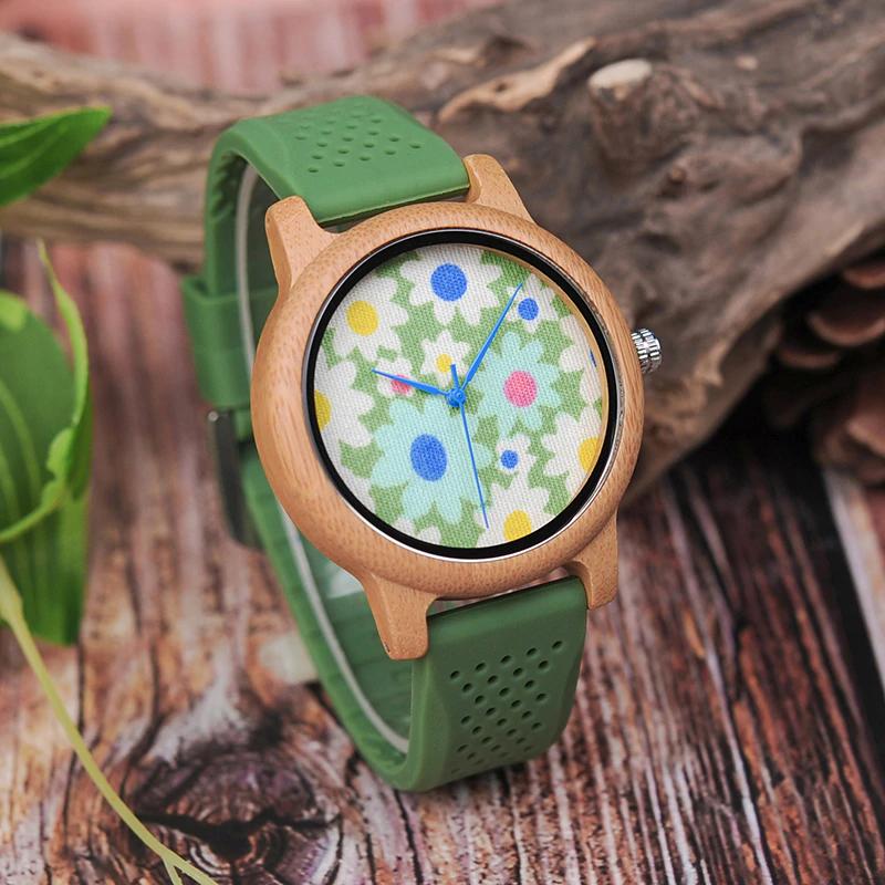 Ceas de mana din lemn de Bobo Bird cu flori B04