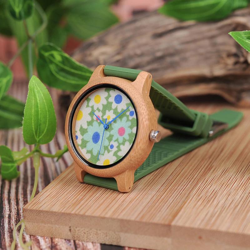 Ceas de mana din lemn de bambusBobo Bird cu flori B04