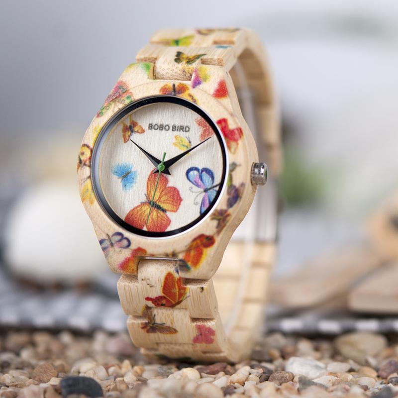 Ceas din lemn Bobo Bird cu fluturi si curea din lemn O20