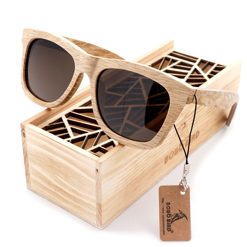 Ochelari de soare din lemn Bobo Bird AG007, lentila maro