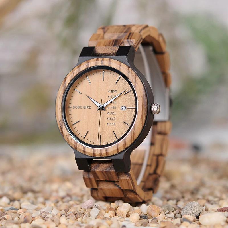 Ceas din lemn Bobo Bird cu curea din lemn O26