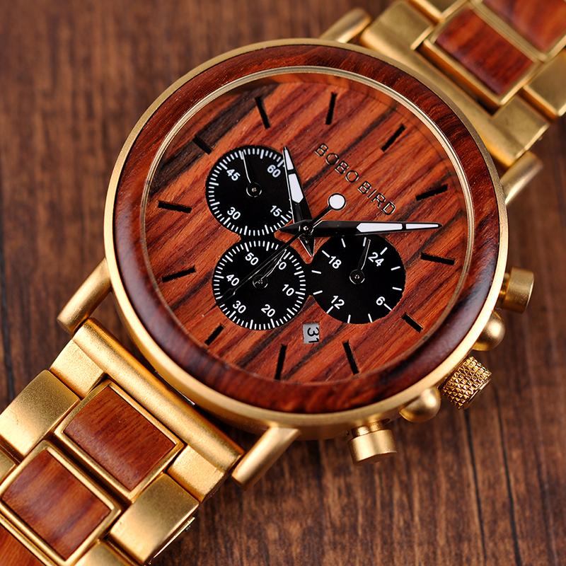 Ceas din lemn Bobo Bird auriu