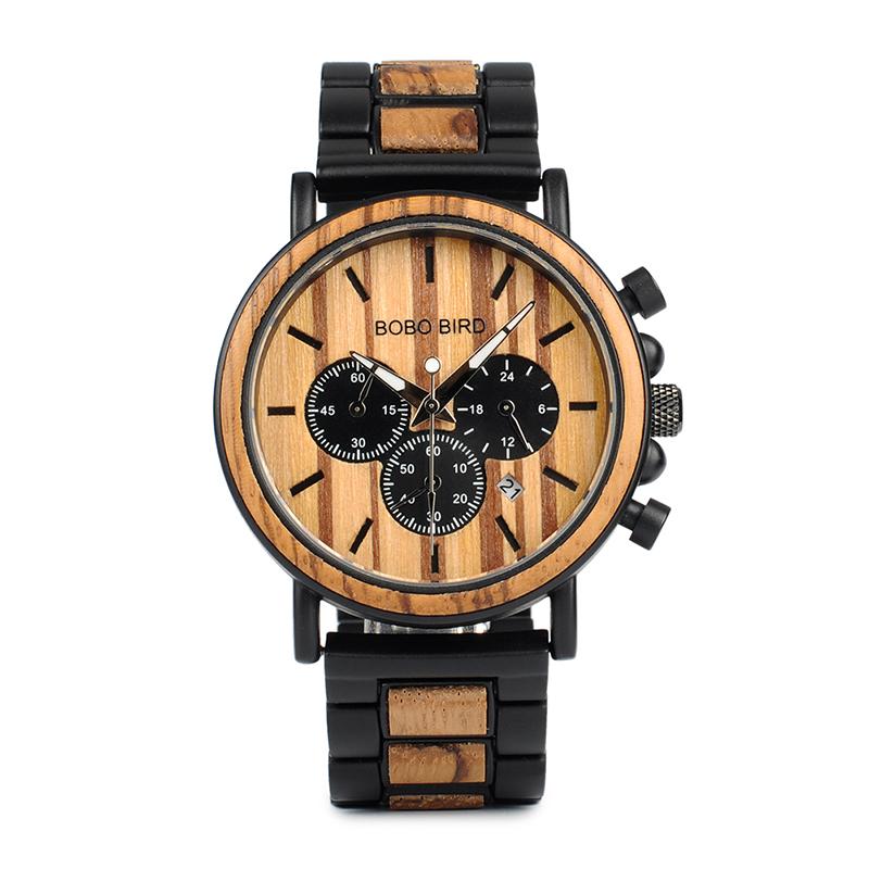 Ceas din lemn Bobo Bird cu curea din lemn, P09-1