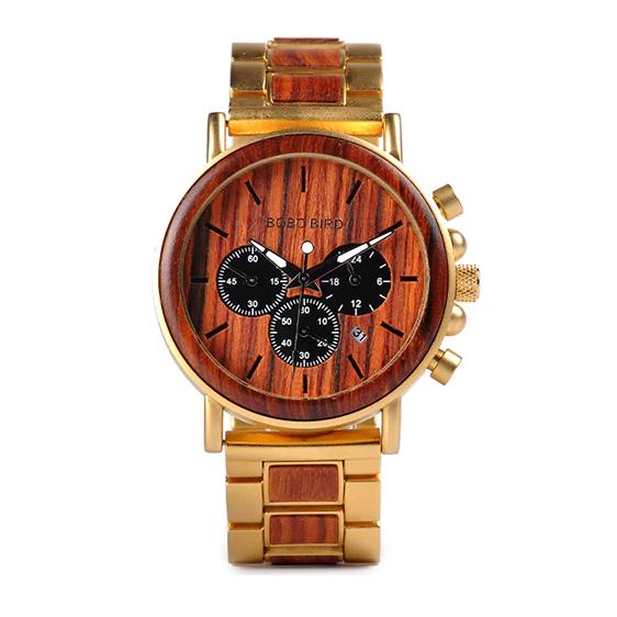 Ceas din lemn Bobo Bird cu curea din lemn, Q26-2