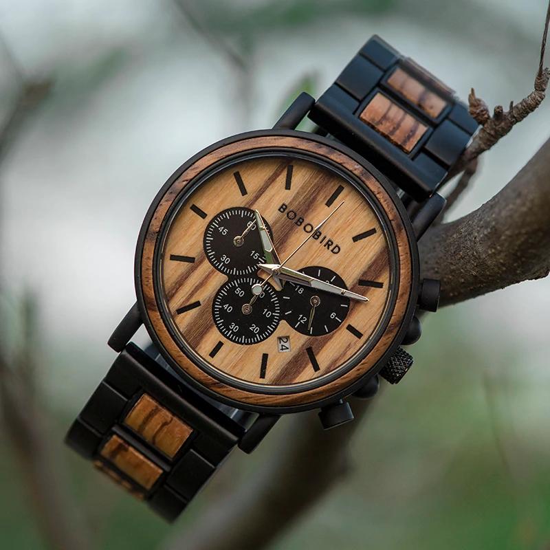 Ceas din lemn Bobo Bird curea din lemn, P09-1