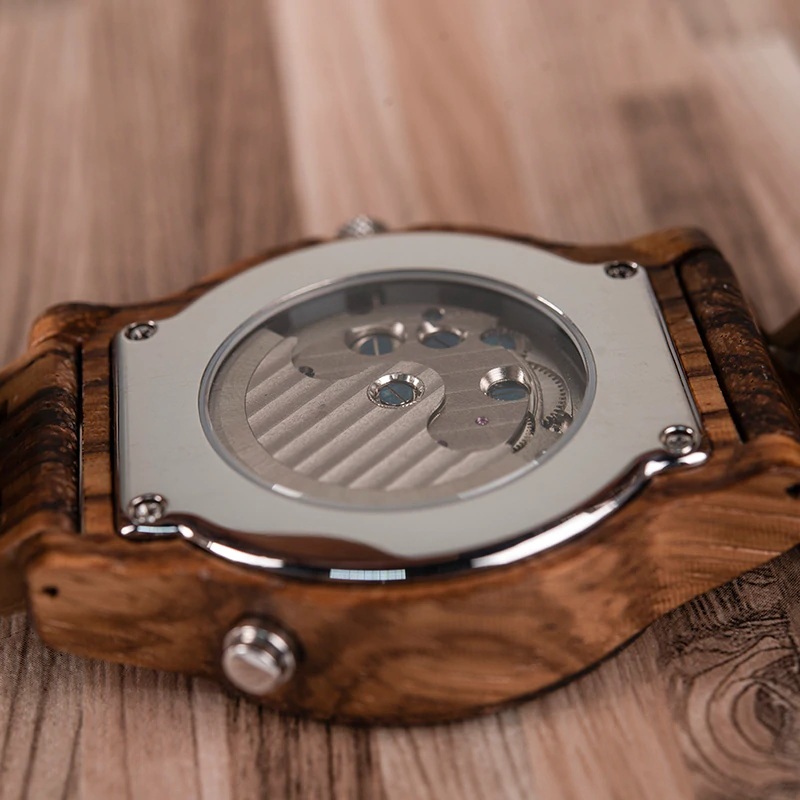 Ceas din lemn mecanic Q27-2 alb