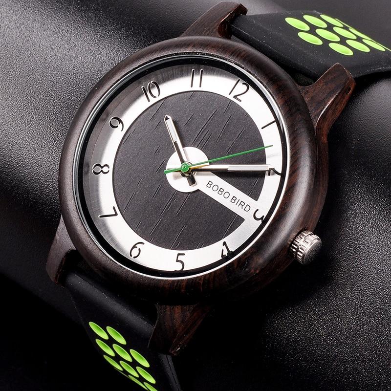 Ceas din bambus Bobo Bird cu curea din silicon verde, R11-2