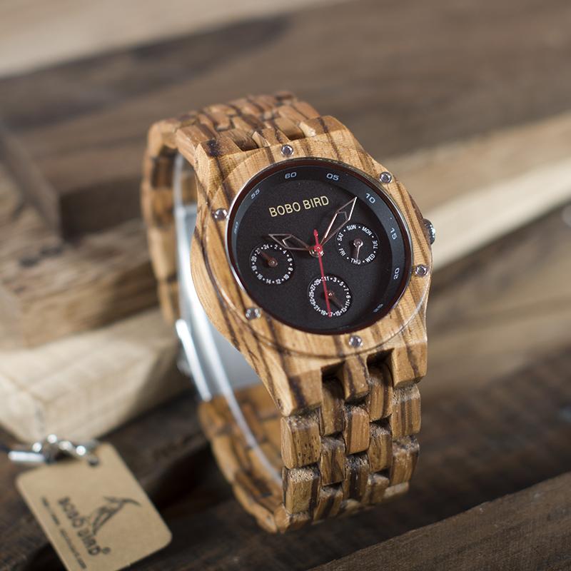 Ceas din lemn Bobo Bird cu curea din lemn, N11