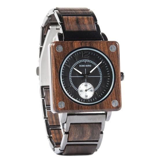 Ceas din lemn Bobo Bird cu curea din lemn, R14