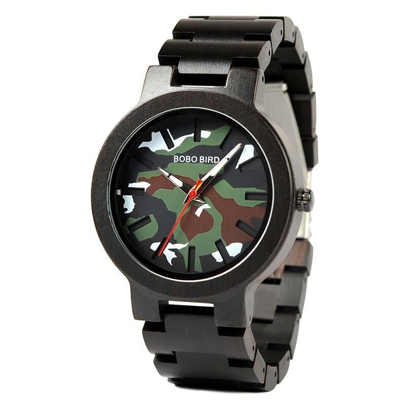 Ceas din lemn Bobo Bird negru cu curea din lemn, R16