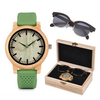 Set ceas din lemn Bobo Bird B06 si ochelari de soare din lemn