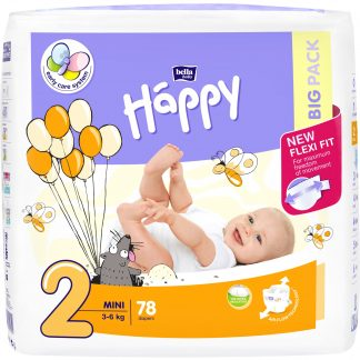 Scutece Happy Mini 2 Big Pack, 3-6 kg, 78 buc