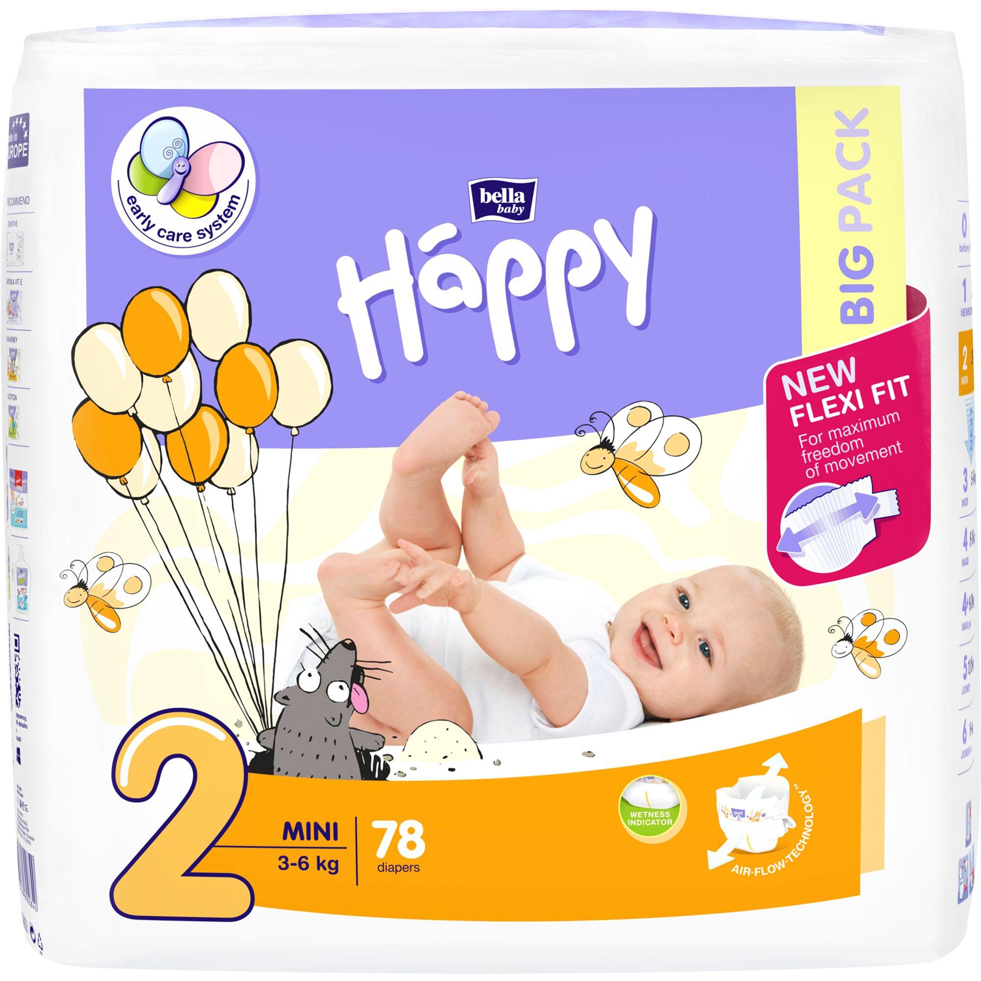 Scutece Happy Mini 2 Big Pack, 3-6 kg, 78 buc