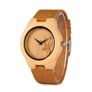 Ceas din lemn Bobo Bird, curea din piele F29