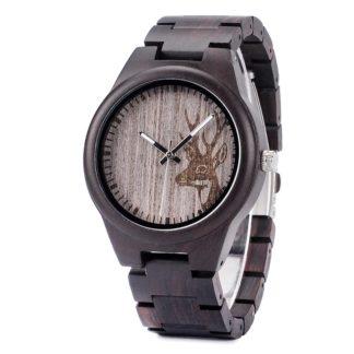 Ceas din lemn Bobo Bird cu curea din lemn I26